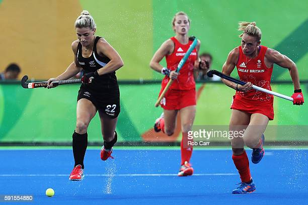 Liz Gemma Flynn of New Zealand and Susannah Townsend of Great Britain in action during the Women's Semifinal match between New Zealand andGreat...