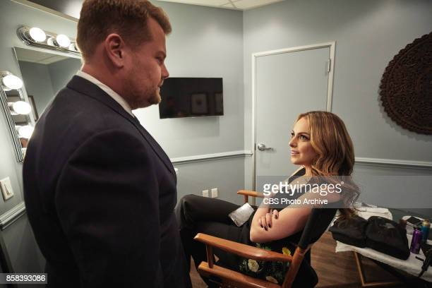 Liz Gillies chats in the green room with James Corden during 'The Late Late Show with James Corden' Monday October 2 2017 On The CBS Television...