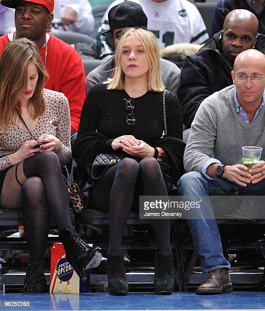Liz Goldwyn and Chloe Sevigny attend the Toronto Raptors vs New York Knicks game at Madison Square Garden on January 28 2010 in New York City