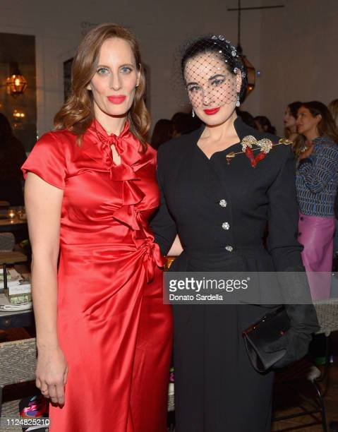 Liz Goldwyn and Dita Von Teese attend Liz Goldwyn and MATCHESFASHIONCOM celebrate the launch of Frieze LA at Gracias Madre on February 13 2019 in...