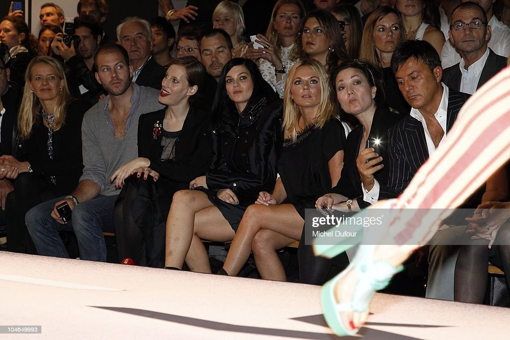 Liz Goldwyn, Leigh Lezark and Geri Halliwell attends the Viktor & Rolf Ready to Wear Spring/Summer 2011 show during Paris Fashion Week at Espace Ephemere Tuileries on October 2, 2010 in Paris, France.