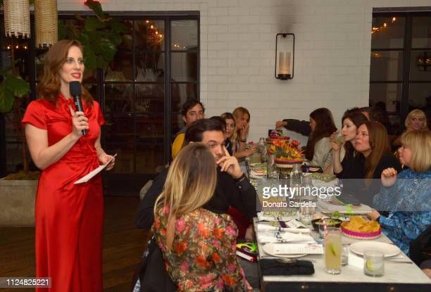 Liz Goldwyn speaks to guests at Liz Goldwyn and MATCHESFASHIONCOM celebrate the launch of Frieze LA at Gracias Madre on February 13 2019 in West...