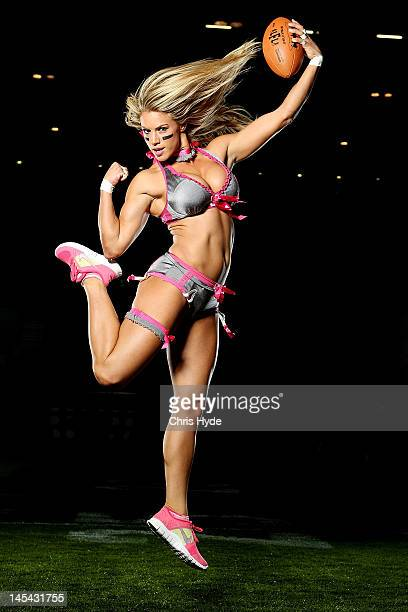 Liz Gorman of the Eastern conference poses during the Lingerie Football League media call at Brisbane Entertainment centre on May 30 2012 in Brisbane...