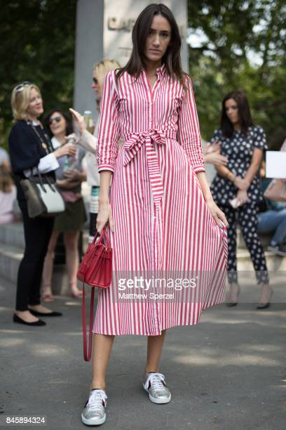 Liz Harkawik is seen attending Lela Rose during New York Fashion Week wearing Zara on September 11 2017 in New York City