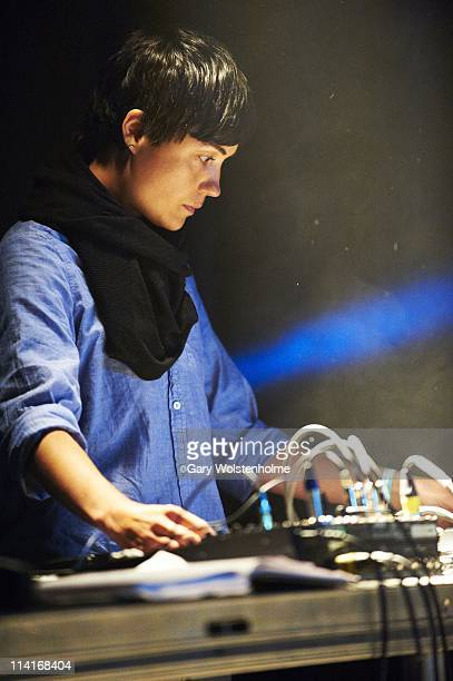 Liz Harris of Grouper performs on stage during the first day of ATP Festival curated by Animal Collective at Butlins Holiday Centre on May 13 2011 in...