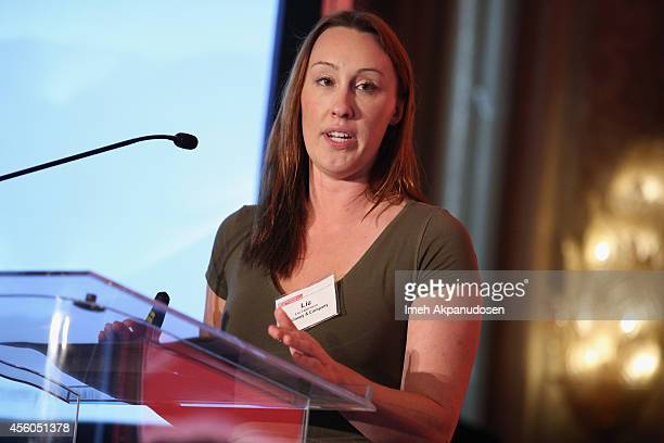 Liz Harrison Senior Associate Digital Media Practice McKinsey Company speaks onstage during the Hollywood IT Society's Digital Marketing and...