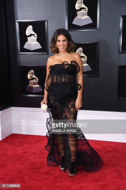 Liz Hernandez arrives for the 60th Grammy Awards on January 28 in New York / AFP PHOTO / ANGELA WEISS