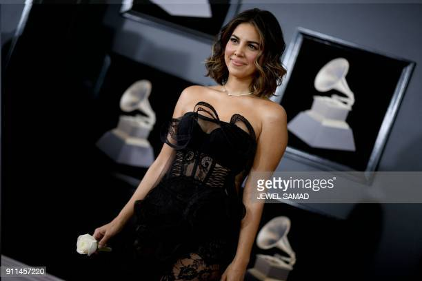 Liz Hernandez arrives for the 60th Grammy Awards on January 28 in New York / AFP PHOTO / Jewel SAMAD