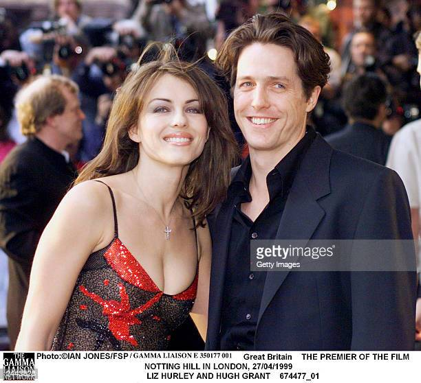 Liz Hurley and Hugh Grant arrive at the London premiere of the film 'Notting Hill' April 17, 1999.