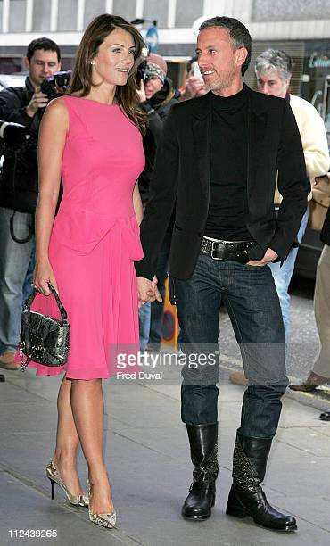 Liz Hurley and Patrick Cox during Patrick Cox VIP Ad Campaign Launch at Sanderson Hotel in London Great Britain