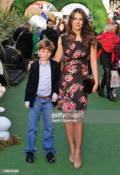 Liz Hurley and son Damian attend the UK Film Premiere of 'Gnomeo And Juliet' at the Odeon Leicester Square on January 30, 2011 in London, England.