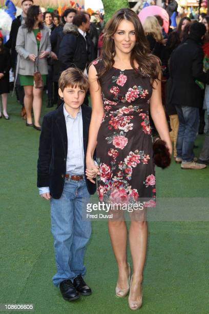 Liz Hurley and son Damian Charles Hurley attend the UK premiere of 'Gnomeo Juliet' at Odeon Leicester Square on January 30 2011 in London England