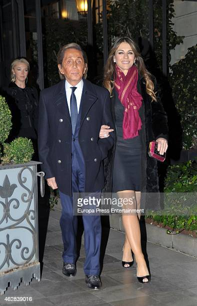 Liz Hurley and Valentino Garavani attend Giancarlo Giammetti birthday party on February 5 2015 in Madrid Spain