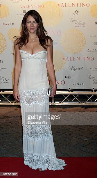 Liz Hurley arrives at the 'Valentino In Rome 45 Years Of Style' postexhibit gala dinner at the Temple of Venus in the Imperial Forum July 6 2007 in...