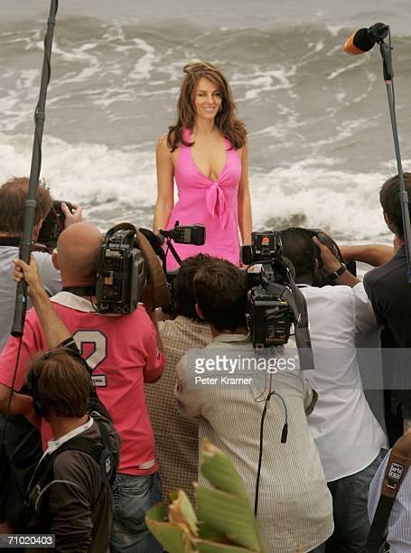 Liz Hurley poses for a picture at Nikki Beach during the 59th International Cannes Film Festival on May 23 2006 in Cannes France