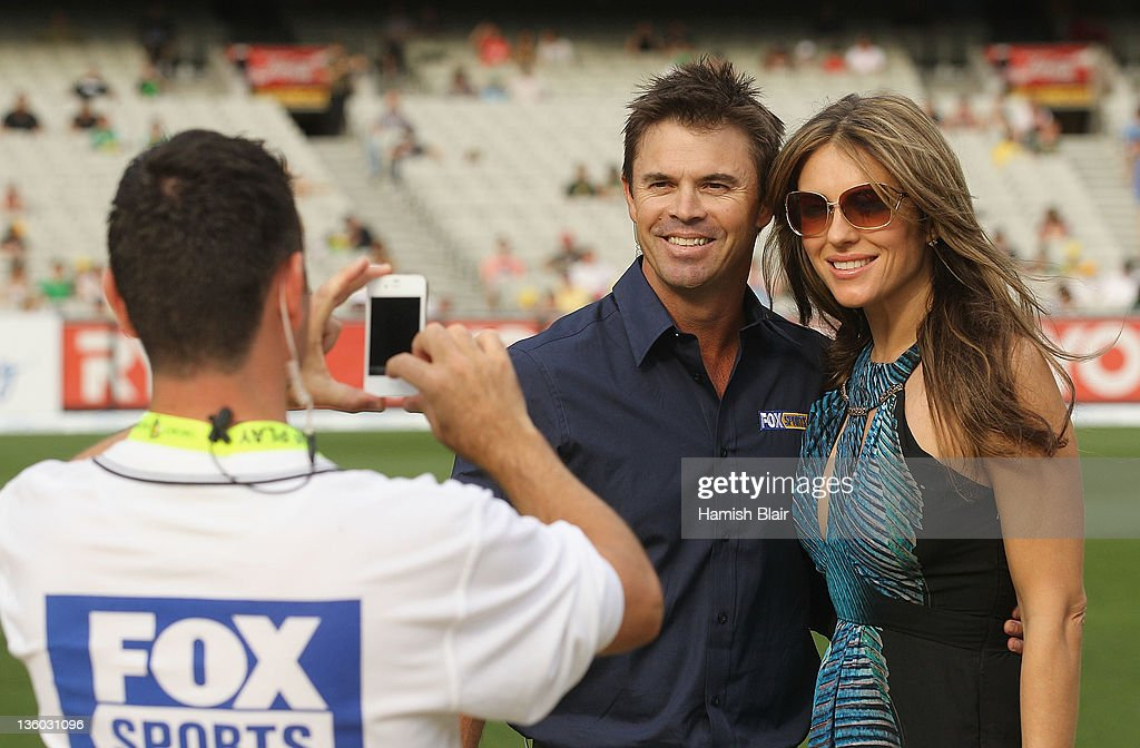 Liz Hurley Attends Big Bash Cricket