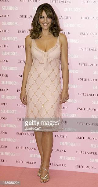 Liz Hurley Turns Selfridges Department Store On Oxford Street In Central London, Pink For Global Breast Cancer Awareness Month In Aid Of The Breast...