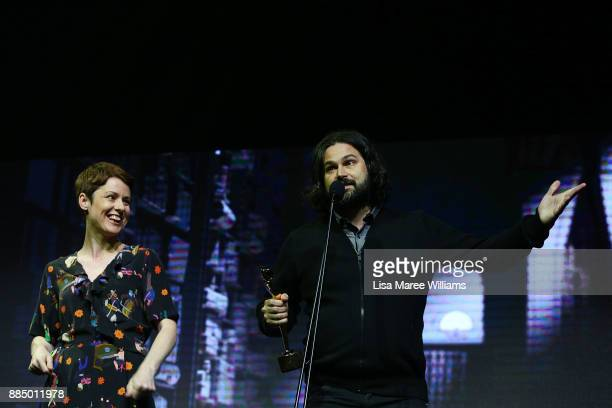 Liz Kearney and Daniel Agdag accept the AACTA Award For Best Short Animation during the 7th AACTA Awards Presented by Foxtel | Industry Luncheon at...