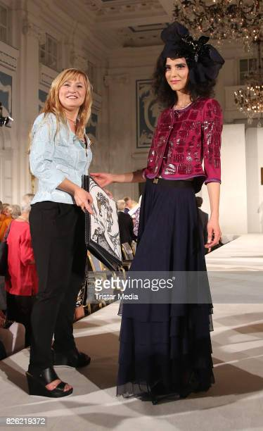 Liz Malraux and Model Zoe during the Liz Malraux Fashion Show Autumn/Winter 201718 at Hotel Atlantic on August 3 2017 in Hamburg Germany