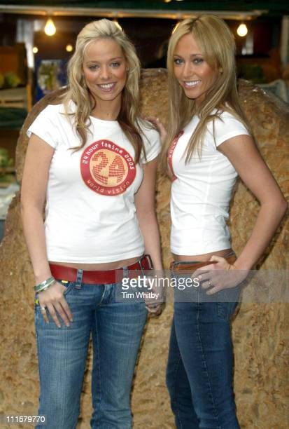 Liz McClarnon and Jenny Frost of Atomic Kitten during Atomic Kitten's Jenny and Liz Promote World Vision's 24Hour Famine Youth Fundraiser at Soho in...