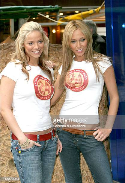 Liz McClarnon and Jenny Frost of Atomic Kitten during Atomic Kitten's Jenny and Liz Promote World Vision's 24Hour Famine Youth Fundraiser at Berwick...