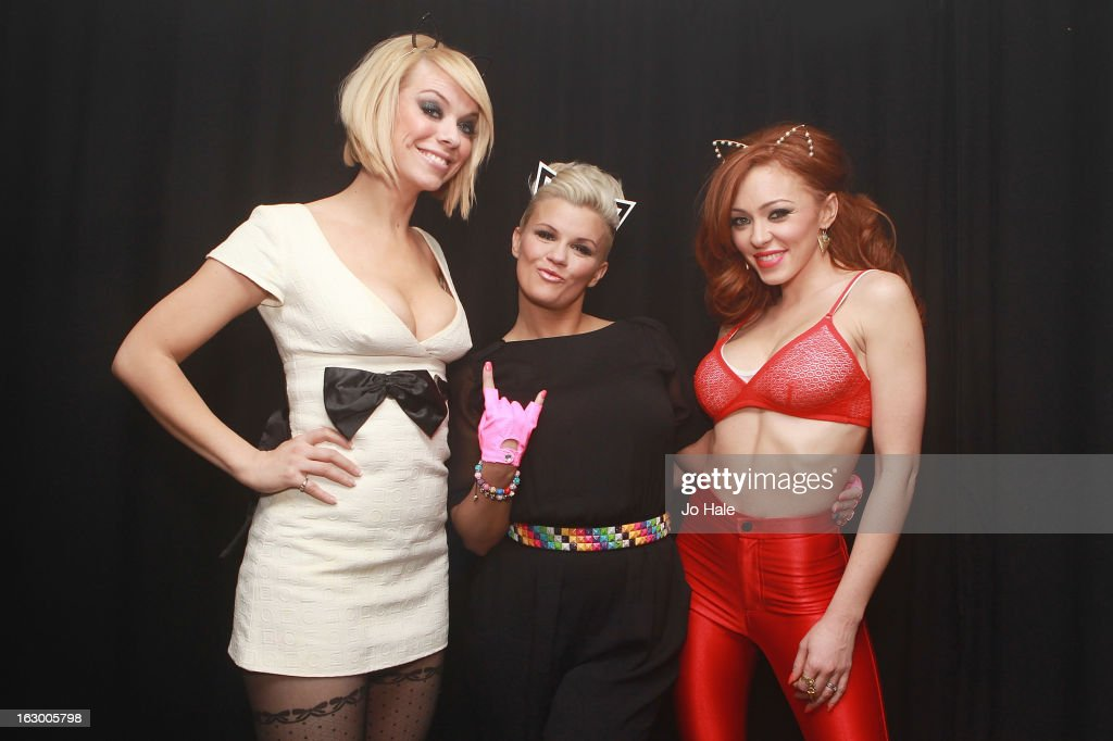 Liz McClarnon, Kerry Katona and Natasha Hamilton of Atomic Kitten pose backstage at G-A-Y on March 2, 2013 in London, England.