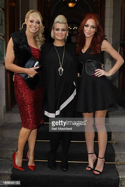 Liz McClarnon Kerry Katona and Natasha Hamilton seen arriving at the Courthouse Hotel on October 23 2013 in London England