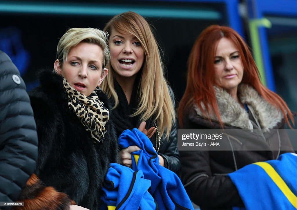 Liz McClarnon of Atomic Kitten (centre) attends the Barclays Premier League match between Everton and Arsenal at Goodison Park on March 19, 2016 in Liverpool, England.