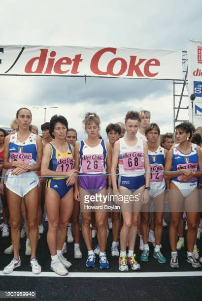 Liz McColgan of Great Britain awaits the start of the women's 1st IAAF World Half Marathon Championship and Great North Run on 20th September 1992 at...