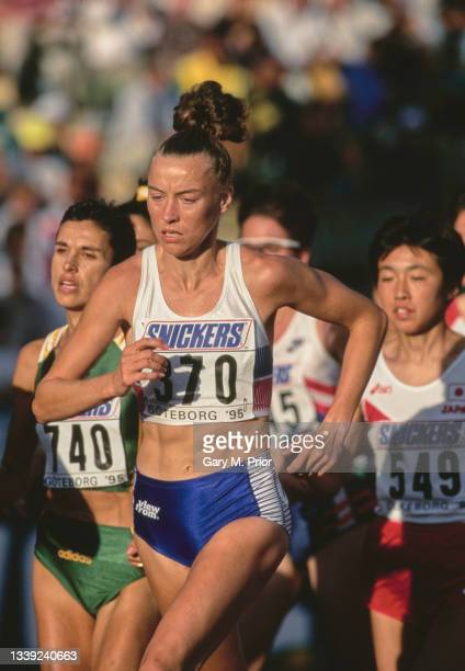 Liz McColgan of Great Britain running in the Women's 10,000 metres event at the 5th International Association of Athletics Federations IAAF World...