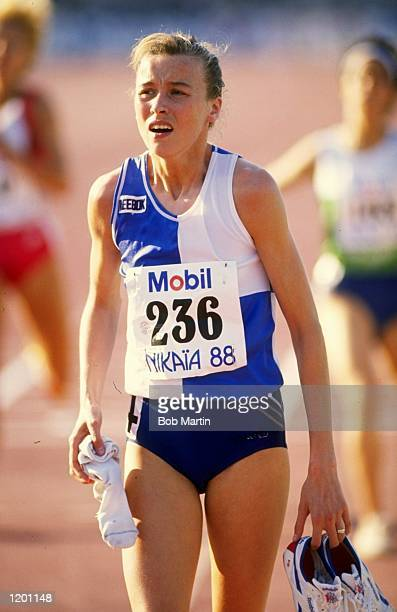 Liz McColgan of Scotland recovers after an event during the Nice Grand Prix at the Parc des Sports Charles Ehrmann in France Mandatory Credit Bob...
