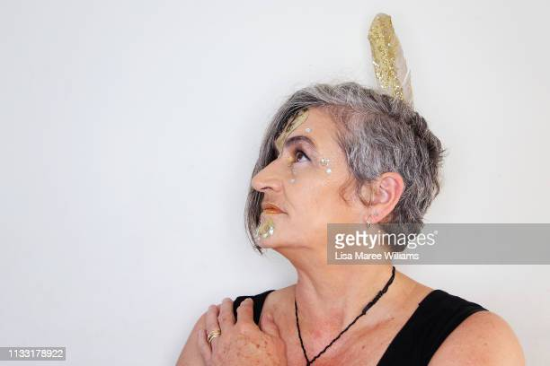 Liz McCullagh prepares to take part in the annual Mardi Gras parade on March 02 2019 in Sydney Australia It is the first time Haka For Life have had...