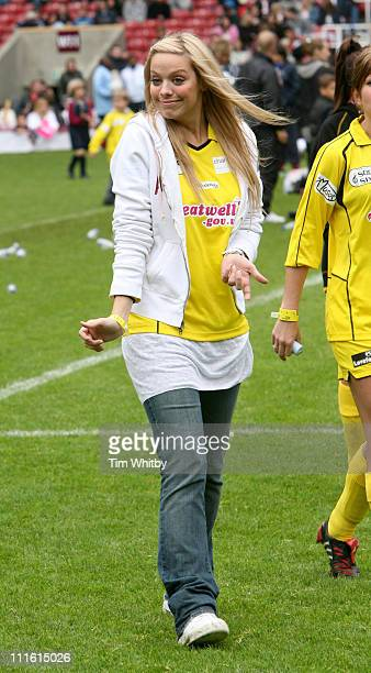 Liz McLarnon during Soccer Six Music Industry Charity Event at West Ham at West Ham United Football Club in London Great Britain