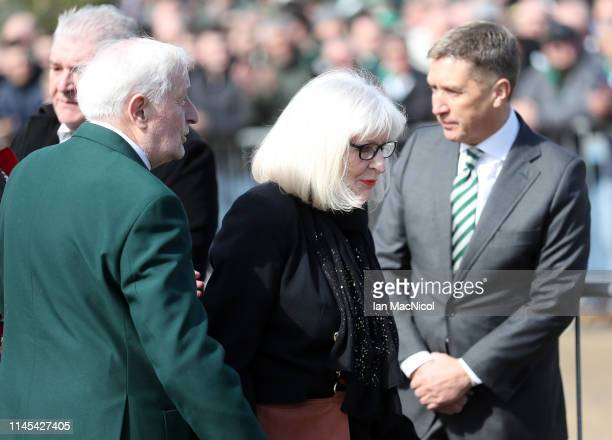 Liz McNeill pays tribute to husband and Celtic Legend Billy McNeill prior to the Ladbrokes Scottish Premiership match between Celtic and Kilmarnock...