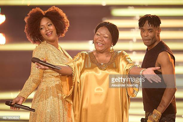 Liz Mitchell performs during the national tv show 'Willkommen bei Carmen Nebel' at TUI Arena on March 28 2015 in Hanover Germany