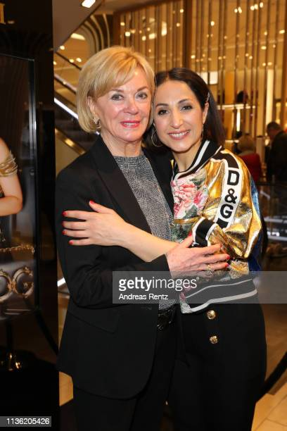 Liz Mohn and Laila Hamidi attend the 'Easy to pack brushes' launch by Laila Hamidi at Breuninger on March 16 2019 in Duesseldorf Germany