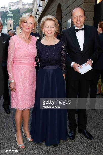 Liz Mohn Dr Ursula von der Leyen and Heiko von der Leyen arrive for the opera Simon Boccanegra during the Salzburg Festival on August 24 2019 in...
