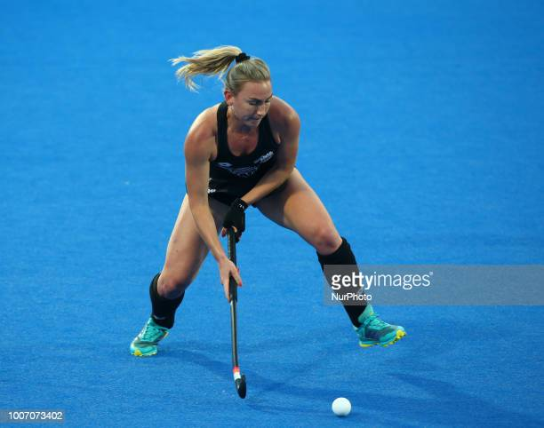 Liz of New Zealand in action during FIH Hockey Women's World Cup 2018 Day Seven match Pool D game 20 between Australia and New Zealand at Lee Valley...