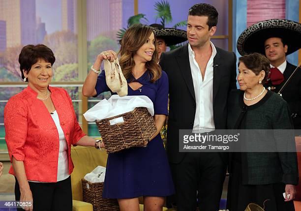 Liz Padilla Satcha Pretto Aaron Butler and Elvia de Padilla are seen on the set of Despierta America at Univision Headquarters on January 21 2014 in...