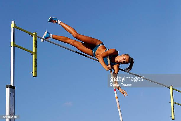 Liz Parnov wins the women pole vault final during the 92nd Australian Athletics Championships at Olympic Park on April 5 2014 in Melbourne Australia
