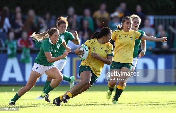 Liz Patu of Australia runs with the ball during the Women's Rugby World Cup 2017 match between Ireland and Australia on August 9 2017 in Dublin...