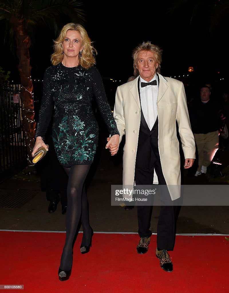 Liz Penny Lancaster Stewart and Rod Stewart attend the Emeralds & Ivy Ball in aid of Cancer Research UK and the Marie Keating Foundation at Embankment Gardens on December 5, 2015 in London, England.