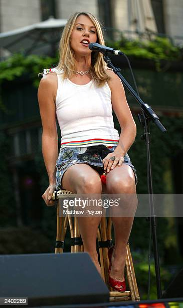 Liz Phair performs on the set of Good Morning America at Bryant Park August 15 2003 in New York City