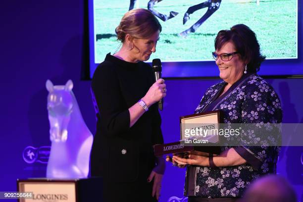 Liz Price interviews Debbie Kepitis owner of Winx after receiving the second prize for The Longines World's Best Racehorse Award during the Longines...