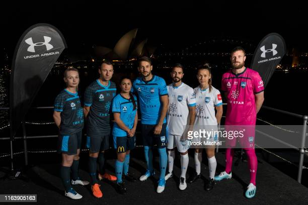 Liz Ralston Adam Le Fondre Teresa Polias Milos Ninkovic Michael Zullo Angelique Hristodoulou and Andrew Redmayne pose during the Sydney FC...