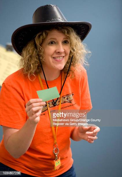Liz Ramos a fourth grade teacher at Davis Magnet School in Costa Mesa gets into character as she questions students during a California Gold Rush...