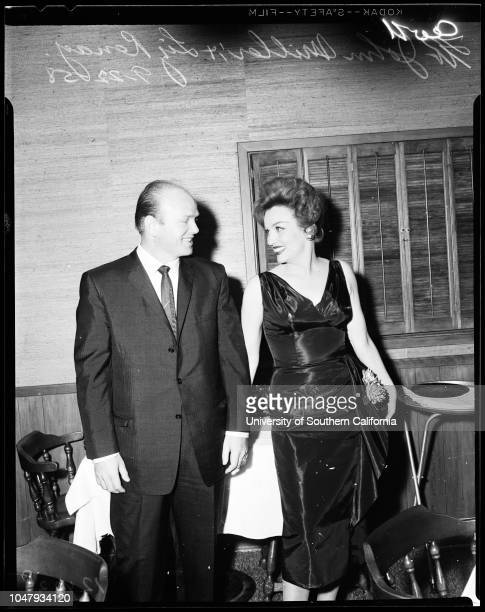 Liz Renay 22 September 1958 Liz Renay John MillerMickey CohenCaption slip reads 'Photographer Wesselman Date Reporter Donoghue Assignment Liz Renay...