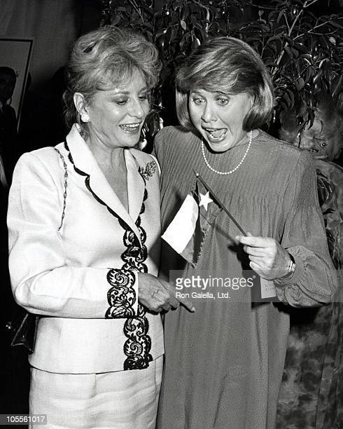 Liz Smith and Barbara Walters during 'Broadway Salutes' Literacy Volunteers Honors Liz Smith at Shubert Alley in New York City New York United States