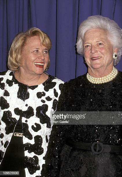 Liz Smith and Barbra Bush during Literacy Partners Present An Evening of Readings And Gala Dinner Dance April 29 1996 at Julliard Theater in New York...