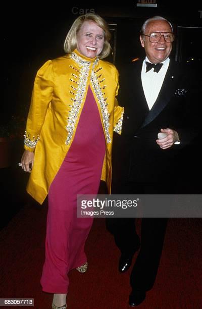 Liz Smith and guest at the Moda Italia Gala promoting Italian trade circa 1989 in New York City